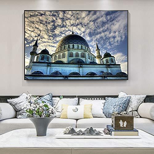 AQgyuh Puzzle 1000 Piezas Alá islámico musulmán Mezquita Paisaje Pintura Religiosa Puzzle 1000 Piezas Juego de Habilidad para Toda la Familia, Colorido Juego de ubicación.50x75cm(20x30inch)