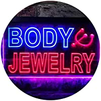 Body Jewelry Shop Illuminated Dual Color LED看板 ネオンプレート サイン 標識 青色 + 赤色 300 x 210mm st6s32-i0540-br