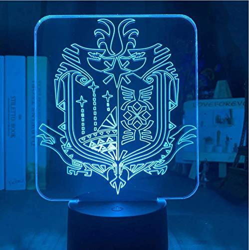 LED Nacht Lichter 3D Illusion Nachttisch Lampe Videospiel Monster Hunter World Logo Kinderzimmer Dekoration Licht 16 Color Touch Remote Tischlampe Geschenk Licht