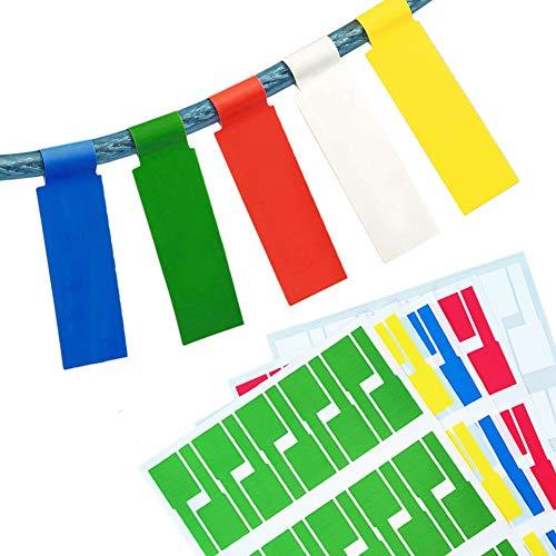 750 Stück Kabelbeschriftung, XCOZU Kabel Beschriftung Selbstklebend Kabeletiketten, UV-beständige Wasserdicht Reißfest Haltbar Kabel Aufkleber für Laserdrucker, 5 Farben 25 Blatt
