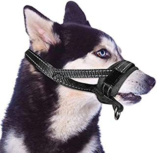 SlowTon 犬のマズル 犬用マズル口輪 無駄吠え 噛みグセ キズなめ 咬みつき防止 アップグレード 柔らかい 犬の口を保護する拾い食い防止 家具破壊防止器具 (L, ブラック)