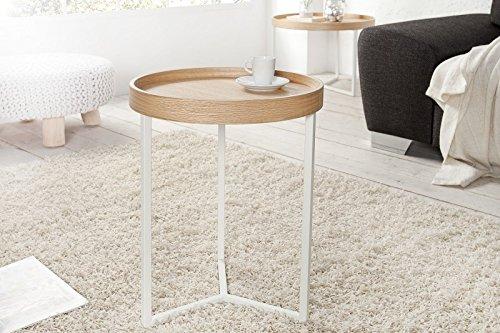 DuNord Design Beistelltisch Couchtisch Triton 40cm Natur Weiss Retro Design Tablett Tisch