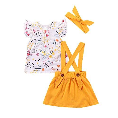 K-youth Ropa Bebe Niña Verano 2018 Ropa Bebe Recien Nacido Niña Vestido Bebe Ceremonia Vestido Bebe Niña Bautizo Vestido de Honda Conjunto Tops + Falda + Diadema(Amarillo, 2-3 años)