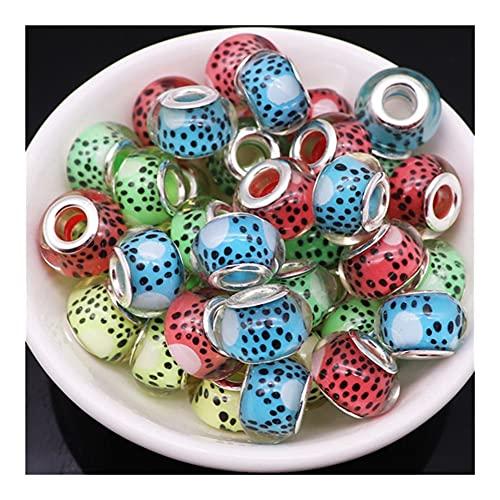Regalo 10 piezas Rondelle Murano Spacer Big Hole European Beads Charms Resina para fabricación de joyas YC429 (color: 18)