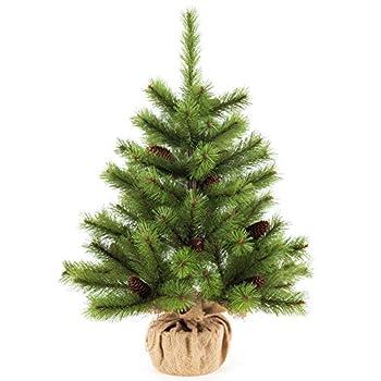 Christmas Table Tree,2 Foot Mini Desktop Pine Tree with Cones Decorations 24