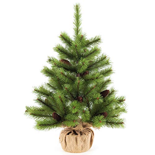 Senjie Christmas Table Tree,2 Foot Mini Desktop Pine Tree with Cones Decorations 24'