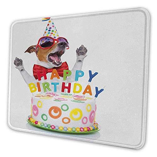 Kindergeburtstag personalisierte Mauspad Party Party Hund bei Überraschung Geburtstagsfeier mit Kegel Hut und Brille Foto Spaß Mauspad für Schreibtisch Computer Multicolor