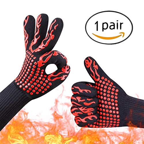 Youmeet Heat Resistant Gloves BBQ Grilling Oven Mitts Silicone Cooking Gloves,Cut Resistant and Forearm Protection with 932°F Heat Resistance,for Cooking, Baking, Barbebue Potholder, One Pair- Red.