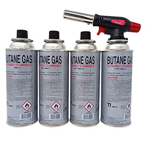 Brenneraufsatz inkl. 4 Gaskartuschen Gasfackel Gasbrenner Bunsenbrenner Butan Brenner Flambiergerät