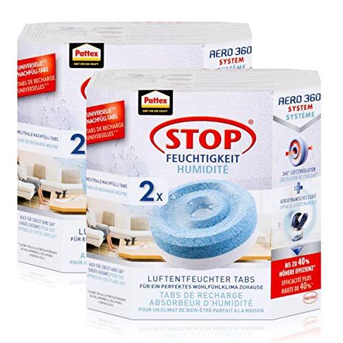Henkel Pattex Stop Feuchtigkeit Aero 360° Luftentfeuchter Nachfüllpack 2x450g Neutral-Tabs - Vorbeugend gegen Feuchtigkeit, schlechte Gerüche und Schimmel (2er Pack)