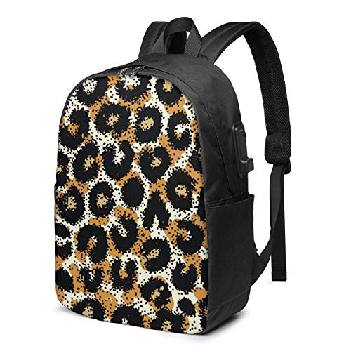 XCNGG Leopard Ocelot Travel Laptop Backpack College School Bag Casual Daypack with USB Charging Port