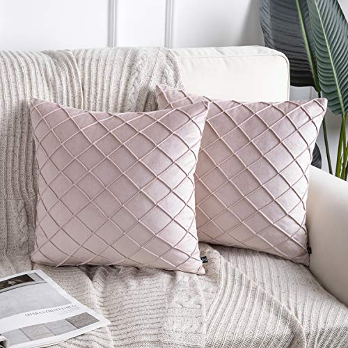 Phantoscope Pack of 2 Light Pink Folder Throw Pillow Case Cushion Covers for Home Decor 18' x 18' 45 x 45 cm
