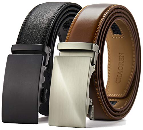 Chaoren Leather Ratchet Belt 2 Pack Dress with Click Sliding Buckle 1 3/8' in Gift Set Box -...