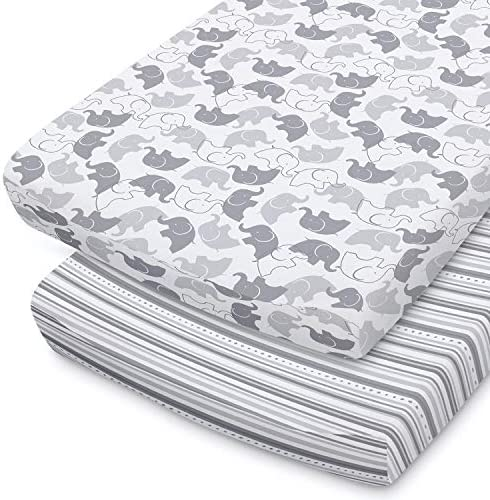 The Peanutshell Baby Changing Pad Covers for Boys or Girls Grey White 2 Pack Set Elephant Stripes product image