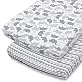 The Peanutshell Baby Changing Pad Covers for Boys or Girls   Grey & White 2 Pack Set   Elephant & Stripes
