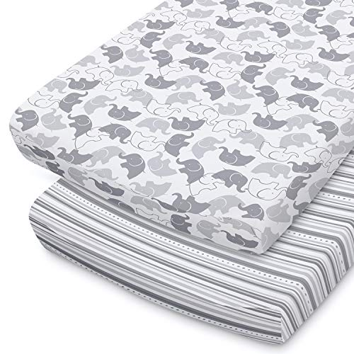 The Peanutshell Baby Changing Pad Covers for Boys or Girls | Grey amp White 2 Pack Set | Elephant amp Stripes