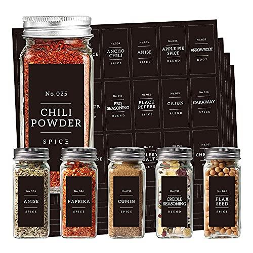 XOTAISM Kitchen 133 Minimalist Spice Jar Labels Preprinted Set - White Text on Black Glossy Finish Spice Sticker - Fit Pantry Square Glass Seasoning Spice Jars Organization and Storage