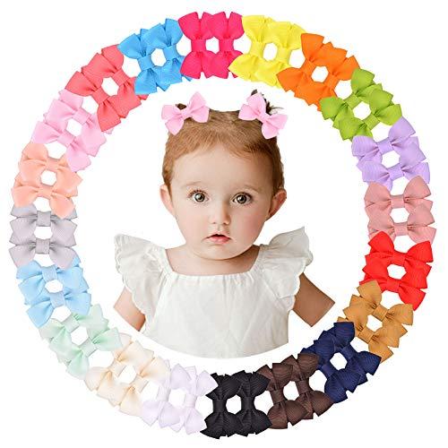 40pcs 2 pulgadas lazos para el pelo clips totalmente forrados de cocodrilo clips de pelo de Grosgrain cinta de pelo Barrettes accesorio para bebés pelo fino bebés niños pequeños en pares