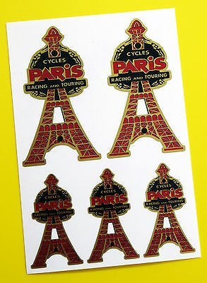 PARIS CYCLES 'Tour Eiffel' Tête Badge style Vintage doré Stickers Autocollants