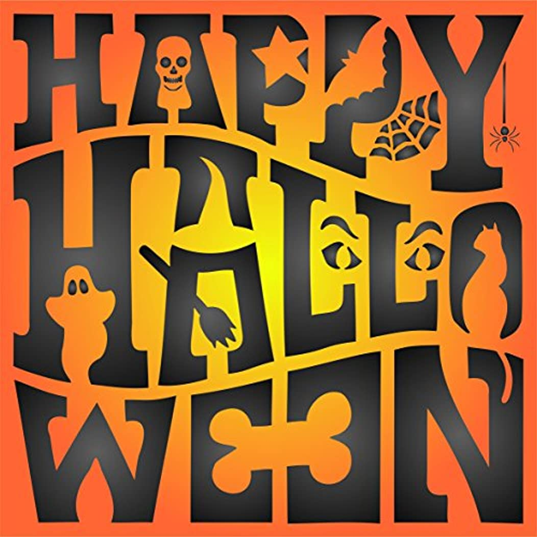 "Happy Halloween Sign Stencil - (size 6.5""w x 6.5""h) Reusable HALLOWEEN Wall Stencils for Painting Posters Labels Words Quotes - Use on Walls, Floors, Fabrics, Glass, Wood, and More…"