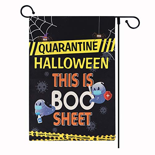 WaaHome Halloween Boo Ghost Decorations Flag 12x18 Double Sided This is Boo Sheet Quarantine Halloween Garden Flag for Halloween Yard Lawn Outdoor Party Decorations