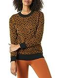 Daily Ritual Jersey de Cuello Redondo ultrasuave Pullover-Sweaters, Dot Jacquard Dark Chestnut/Black, M