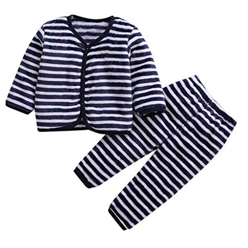 Xmiral Baby Mädchen Jungen Kurze Plüsch Warme Nachtwäsche Pyjamas Langarm Kleidung Set Herbst Top + Hosen Zweiteiler(A,6-12 Monate)