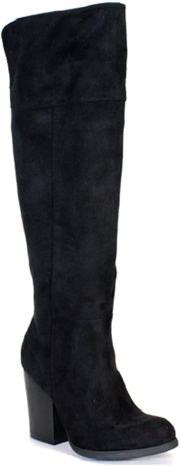 Anne Michelle Black Suede Slouchy Chunky Heel Riding Knee high Boots Women's shoes