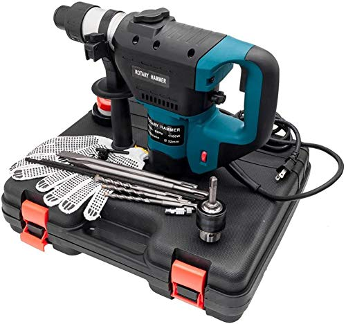 FASFSAF 1-1/2' SDS Electric Hammer Drill Set 1100W 110V Blue