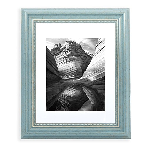 11x14 Picture Frame Antique Teal - Matted to 8x10, Frames by EcoHome