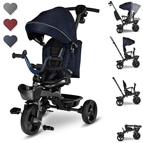 lionelo Kori 2en1 Tricycle bébé évolutif de 1,5 jusqu'à 25 kg siège Rotatif à 360 degrés Roue Libre Dossier réglable Porte-gobelet Sac fermé 2 paniers spacieux (Bleu Marin)