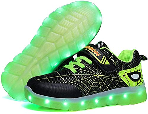 Kids LED Light Up Shoes Rechargeable Luminous Sneakers Trainers for Boys Girls New Spiderman (Green,9 Toddler)