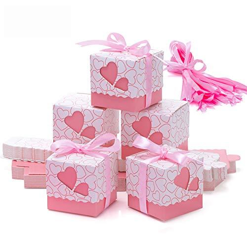 Meersee Scatole Portaconfetti 100 pz Scatole Portaconfetti di Carta Bomboniere Regalo Segnaposti Decorazioni per Festa Matrimonio Battesimo Compleanno (Blu) (Rosa)