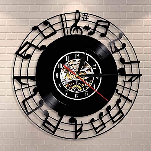 DJDLNK Notas Musicales Estudio De Música Decoración del Hogar Dormitorio Interior Reloj De Pared Iconos De La Música Símbolos Rock N Roll Reloj De Pared