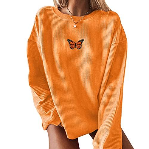 Kaenwang Sudadera con estampado gráfico para mujer, manga larga, cuello redondo, suelta, de pana, naranja, XL