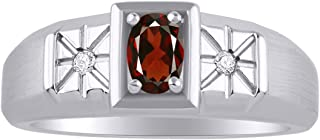 خاتم رجالي من RYLOS مرصع بأحجار كريمة بيضاوية الشكل وألماس لامع أصلي من الفضة الإسترليني عيار 925-6X4 مم خواتم حجر المولد