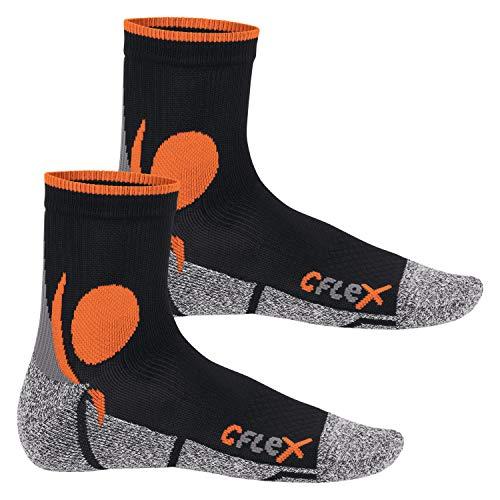 CFLEX Damen und Herren Running Funktions-Socken (2 Paar) Laufsocken - Schwarz-Orange 43-46
