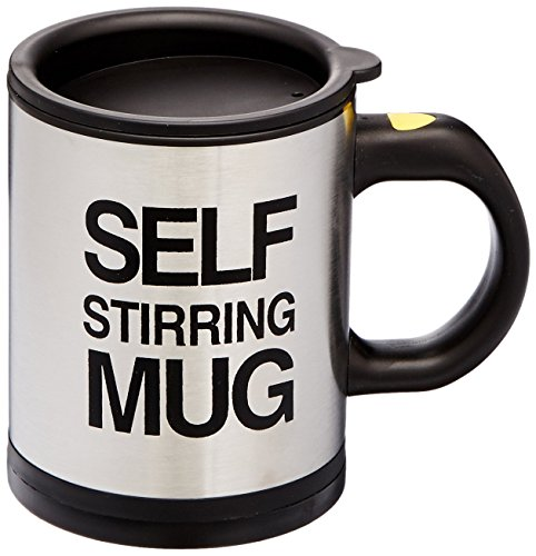 Bluw 1325.7726.71 Self Stirring Mug, Acero Inoxidable, Negro