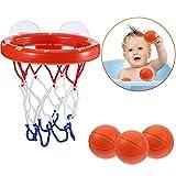 Baño Juguetes para Niños Suctions Vasos Divertido Baloncesto Juego Caza Set Juguete Bañera Mini con Aro Pelotas