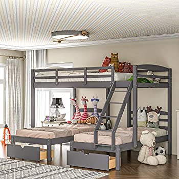 Full Over Twin & Twin Bunk Bed with Drawers for Kids Teens Wood Triple Bunk Bed Frame with Guardrails and Ladder  Grey with Drawers