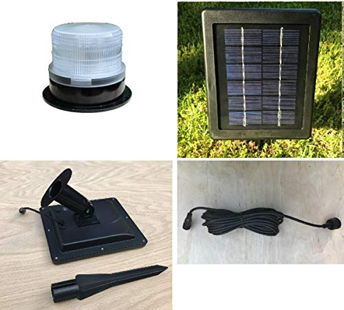 """Deluxe Solar Revolving Beacon for Lawn Lighthouses. Adjustable Speed. 5"""" Dia. Rotating Solar Light with Automatic Dusk to Dawn Activation. Remote Solar Panel with 16 ft. Cord. Adjustable Speed."""