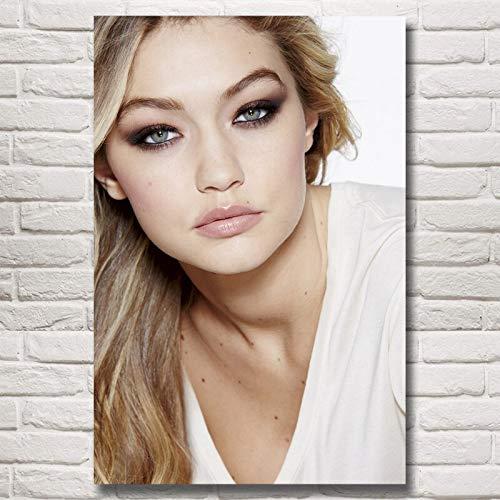 yaoxingfu Rahmenlose Gigi Hadid Mädchen Modell Kunst Seide Poste und Drucke ng Home Decor Wandbilder Für Wohnzimmer 40x60 cm