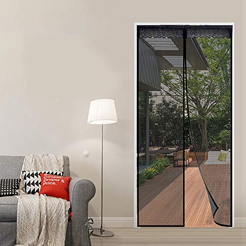 Reliancer Fiberglass Magnetic Screen Door 40'x83' Large Magnet Patio Door Mesh Curtain for Door Opening Up to 38' x82' W/Full Frame Hook and Loop Tape Outdoor Patio(Fiberglass, 40'X83')
