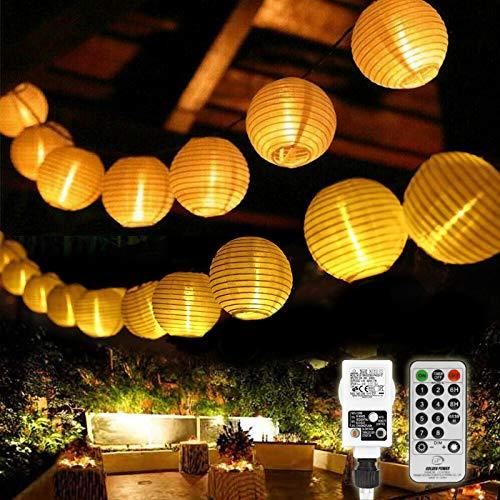 10M LED Lampion Lichterkette Außen mit Timer, 40 LED Lichterkette Balkon Wasserdicht Gartenlaterne Dekoration Aussen Lichterketten mit Fernbedienung für Garten Innen - Warmweiß (Warmweiß)