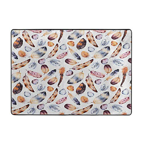 Rectangle Rug Carpets, Hawk Peacock Tail Eagle Hummingbird Feathers in Vintage Wildlife Themed Image, 5' x 6' Floor Mat for Living Dining Room, Orange Blue