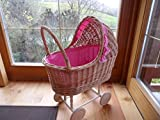 edler großer Nostalgie Puppenwagen Korb Korbgeflecht mit Himmel Neu Kinderwagen Rosa / Pink oder Rot design (Rosa)