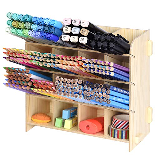 Wood Grain Board Desk Organizer - Holds 240 Colored Pencils - Large Capacity Pen Organizer Caddies for Office, Home Supplies - Artist's Pencils Pens Storage Holder Racks, Easy Assembly Natural Color