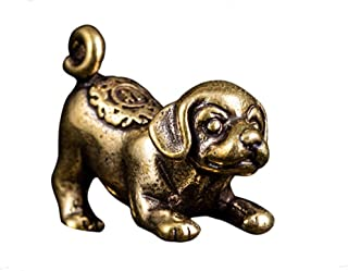 DMtse Chinese Feng Shui Brass Mini Dog Decor Statue Figurines for Animal Sculpture Collectibles Gift