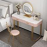 Schlafzimmer-Schminktisch, Marmortischplatte, Mit Led-Lichtspiegel Und Schmetterlingsbogenhocker, Geeignet FüR Heim- Und SchöNheitssalons,Rosa,1.2m