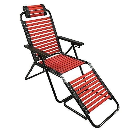 ZHANGYY Sillas de salón para Patio Tumbona, reclinable con Banda de Goma Ajustable Reposacabezas de Curva Fija Oficina al Aire Libre Terraza Balcón Tumbona portátil Durable (Color: Negro)
